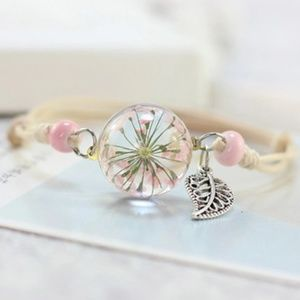 Jewelry - Pink Natural Flower Glass Dome Weave Rope Bangle
